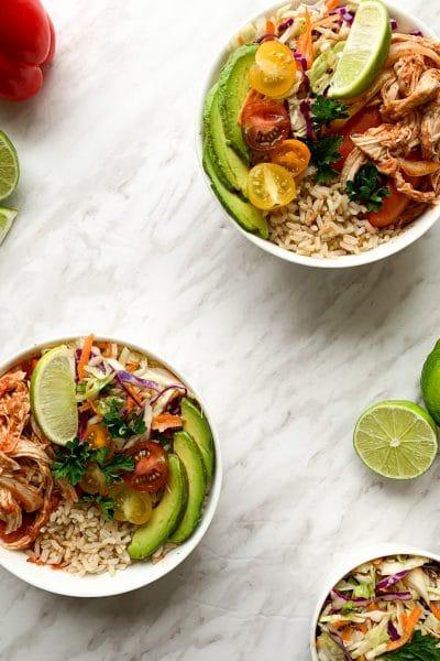 Meal Prep fajita rice bowls chicken