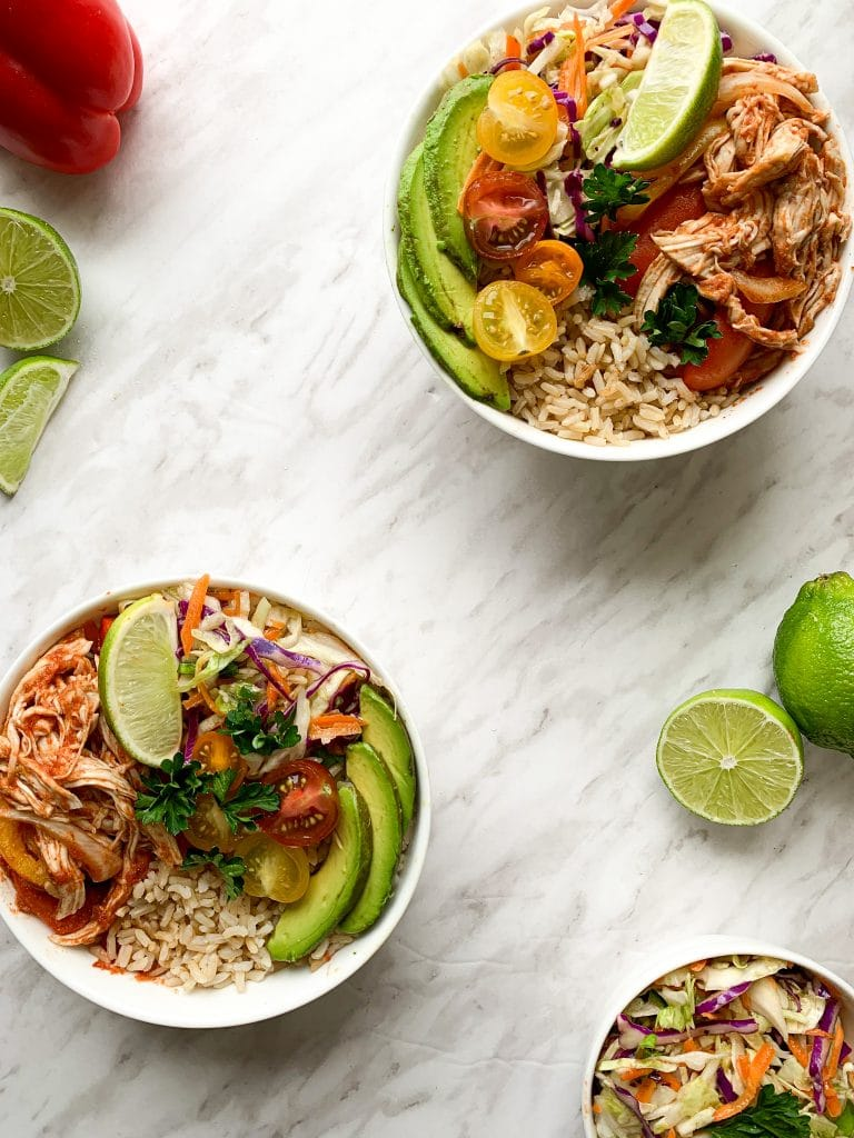 Meal Prep fajita rice bowls chicken