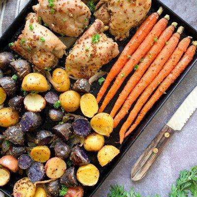 30 minute sheet pan dinner chicken veggies honey dijon