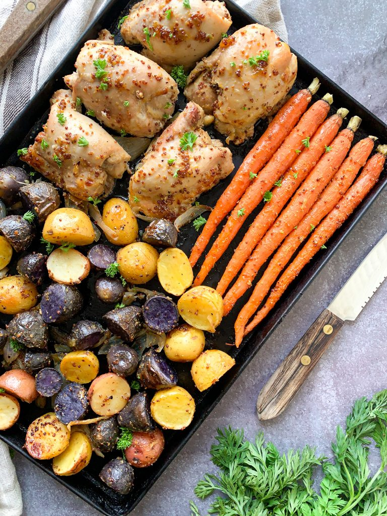 30 minute sheet pan dinner chicken veggies honey dijon