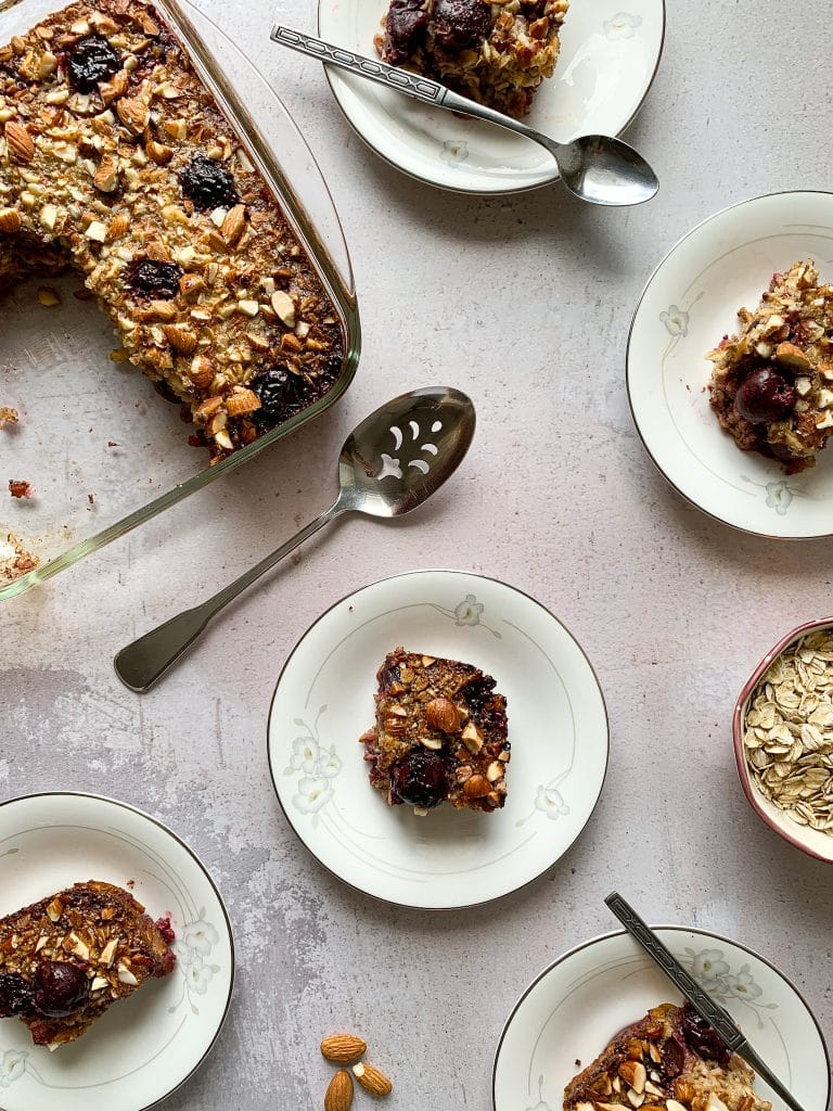 Vanilla Cherry Almond Baked Oatmeal