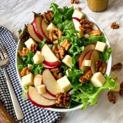 apple cheddar salad with maple cider vinaigrette