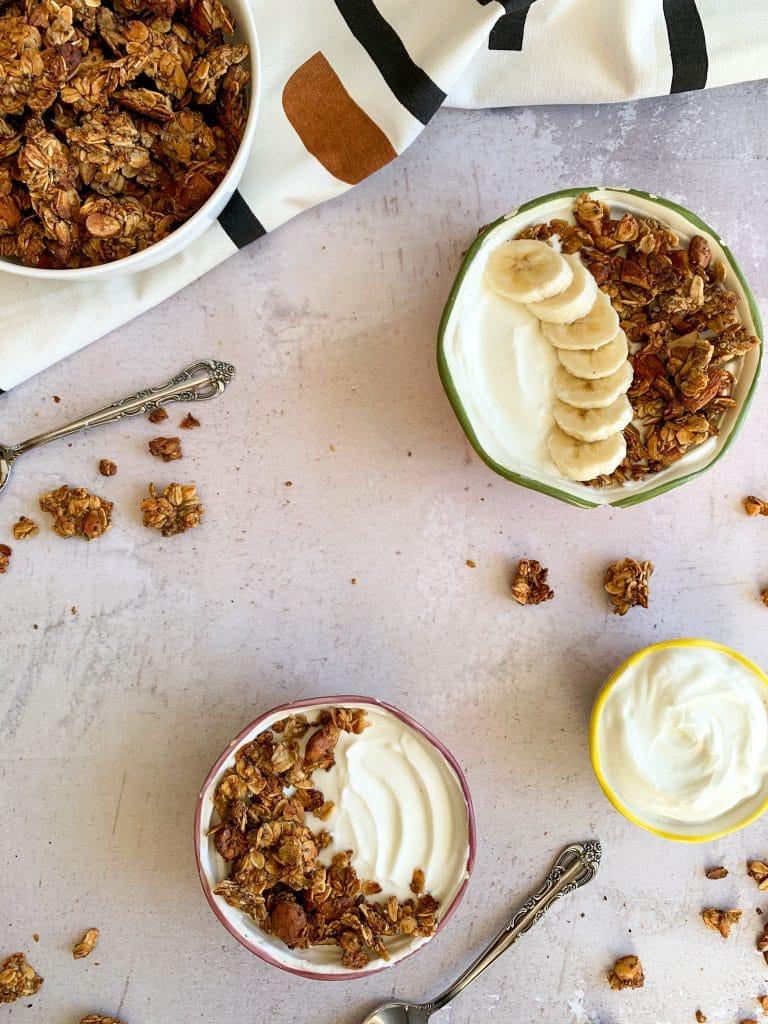 healthy homemade granola in banana honey almond
