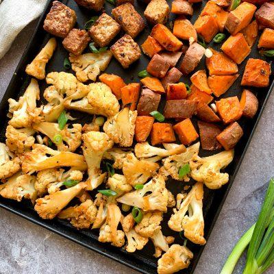 vegetarian sheet pan meal maple soy