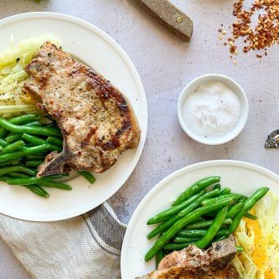 Grilled Pork Chops, Orange Fennel Slaw, Steamed Green Beans