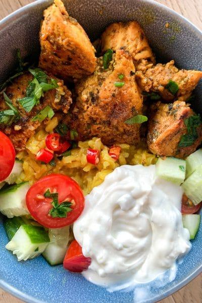 Chicken Shawarma Bowl with Turmeric Spiced Rice recipe