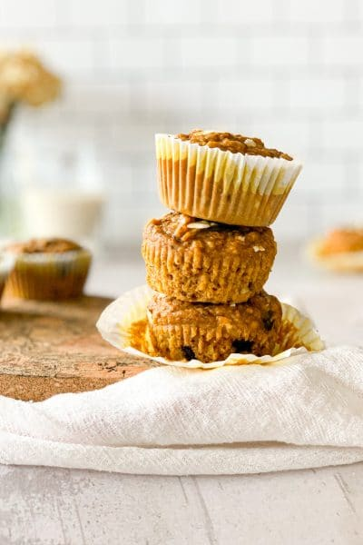 pumpkin chocolate chip muffins with oatmeal